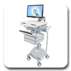 Ergotron SV42-3222-1 StyleView Medical Cart with LCD Monitor Arm, LiFe Powered, 2 Drawers