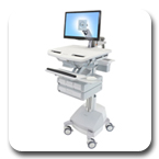 Ergotron SV42-3241-1 StyleView LED Arm Medical Cart, SLA Powered, 4 Drawers