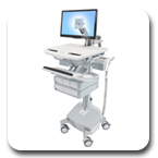 Ergotron SV42-3242-1 StyleView Medical Cart with LCD Arm, LiFe Powered, 4 Drawers