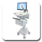 Ergotron SV42-3261-1 StyleView Healthcare Cart with LED Monitor Arm, SLA Powered, 6 Drawer