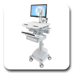 Ergotron SV42-3311-1 StyleView LCD Pivot Medical Cart, SLA Powered, 1 Drawer
