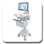 Ergotron SV42-3321-1 StyleView Medical Cart with LCD Pivot, SLA Powered, 2 Drawers