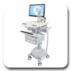 Ergotron SV42-3322-1 StyleView Medical Cart with LCD Pivot, LiFe Powered, 2 Drawers