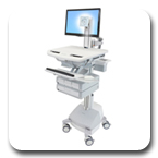Ergotron SV42-3341-1 StyleView LED Pivot Medical Cart, SLA Powered, 4 Drawers