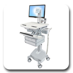 Ergotron SV42-3342-1 StyleView Medical Cart with LCD Pivot, LiFe Powered, 4 Drawers