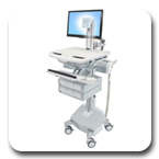 Ergotron SV42-3362-1 StyleView Healthcare Cart with LED Pivot, LiFe Powered, 6 Drawers