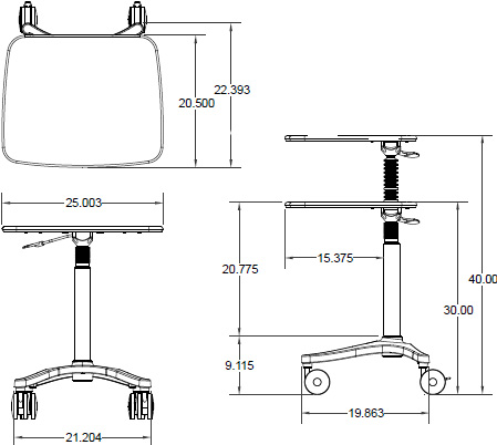 Technical drawing for Ergotron ZAH25CG/CG4 Zido 25, Adjustable-Height Cart, Heavy Load