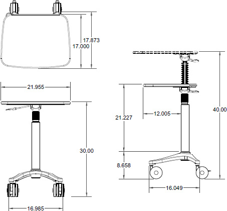 Technical drawing for Ergotron ZAL22CG/CG4 Anthro Zido 22, Adjustable-Height Cart