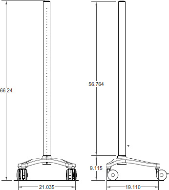 Technical drawing for Ergotron ZD2166CG4 Anthro Zido Pole Cart