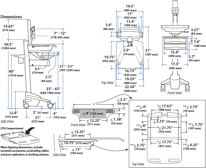 Technical drawing for Ergotron SV43-53E0-1 StyleView Telepresence Cart, Single Monitor
