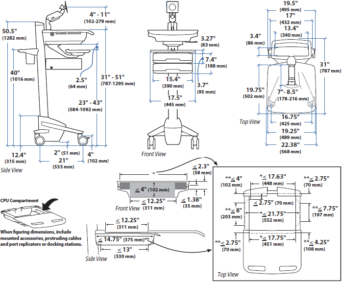 Technical Drawing for Ergotron SV41-3260-0 StyleView Cart with LCD Monitor Arm, non-powered, 6 Drawers