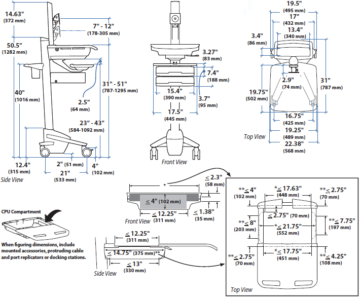 Technical Drawing for Ergotron SV41-53E0-1 StyleView Telepresence Cart, Single Monitor