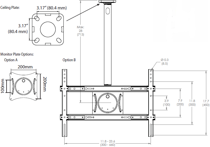 Technical Drawing for Ergotron 60-842-223 Neo-Flex Ceiling Mount