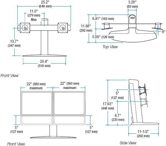 Technical Drawing for Ergotron 33-330-085 Lift Stand