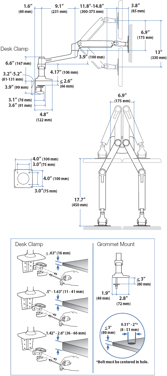 Technical Drawing for Ergotron LX Dual Side By Side Arm