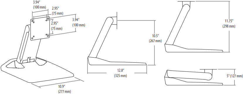 Technical drawing for Ergotron 33-387-085 Neo-Flex Touchscreen Stand