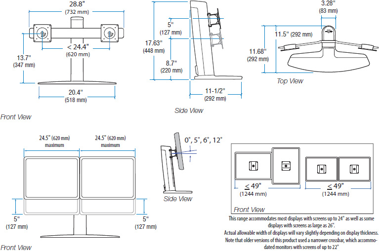 Technical drawing for Ergotron 33-396-085 Neo-Flex Dual LCD Lift Stand
