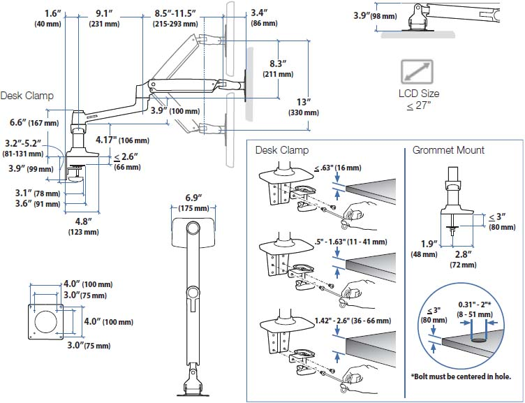 Technical drawing for Ergotron 45-245-026 LX Dual Side-by-Side Arm