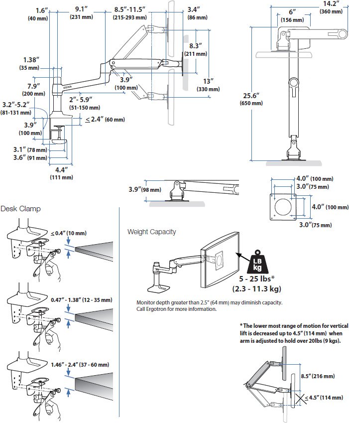 Technical drawing for Ergotron 45-490-216 LX Desk Mount LCD Monitor Arm