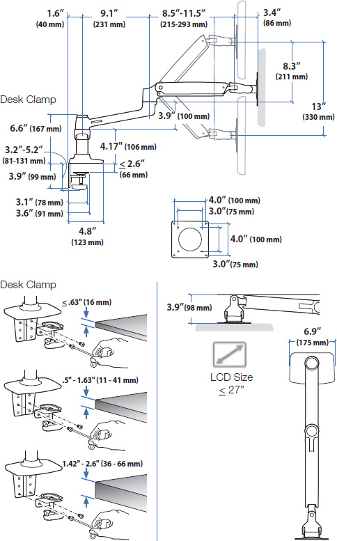 Technical drawing for Ergotron 45-491-216 LX Dual Monitor Arm, Side-by-Side