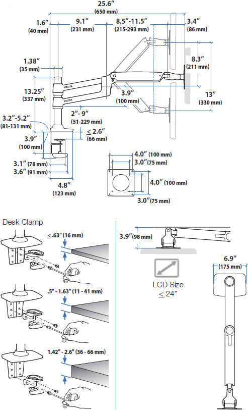Technical drawing for Ergotron 45-492-216 LX Dual Monitor Arm, Stacking
