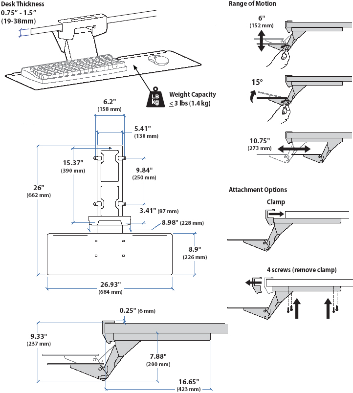 Technical Drawing for Ergotron 97-582-009 Keyboard Arm