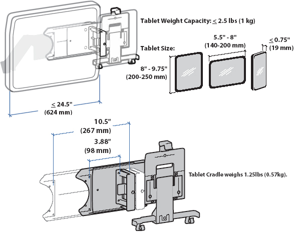 Technical drawing for Ergotron Universal Tablet Cradle