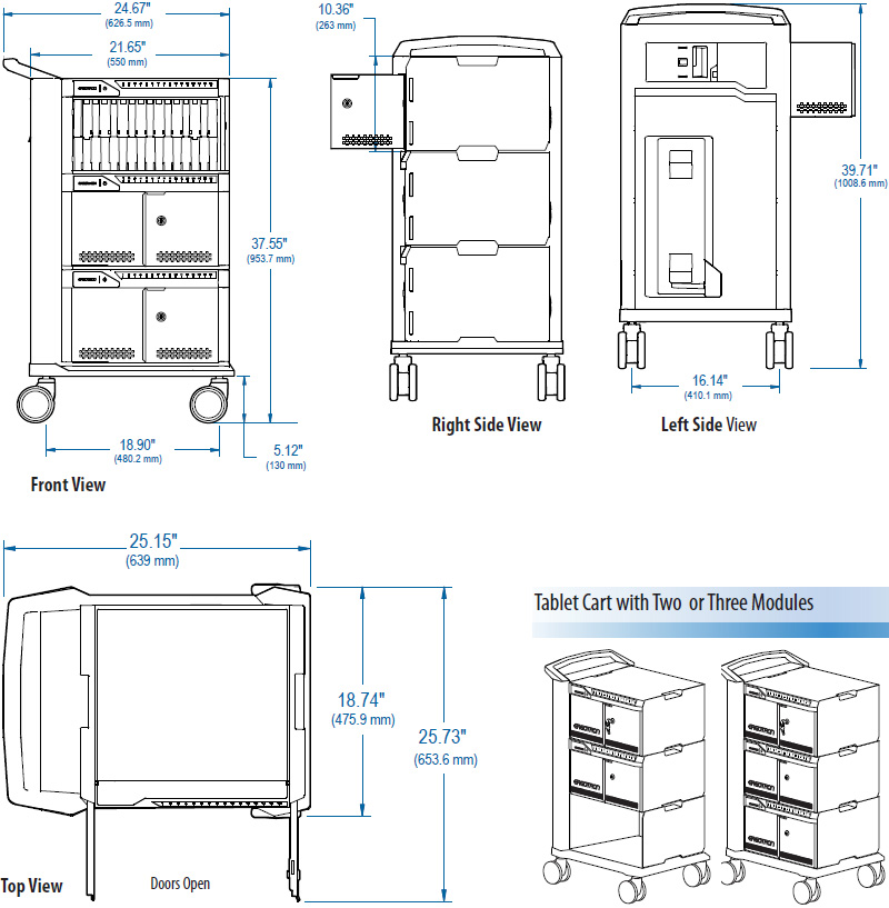 Technical Drawing for Ergotron 24-329-085 Tablet Management 48 Device Capacity Cart, Three Modules with ISI
