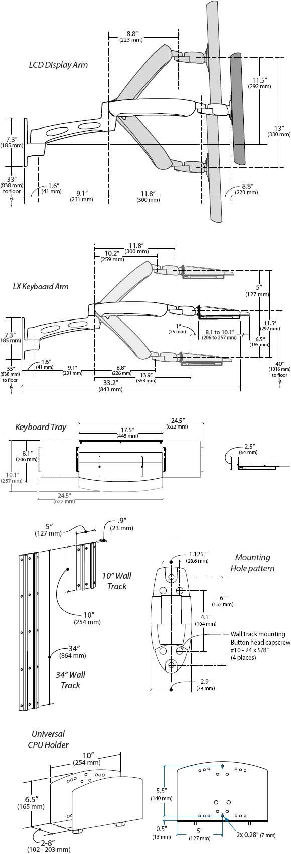 Technical Drawing for Ergotron 45-238-194 LX Wall Mount System Silver