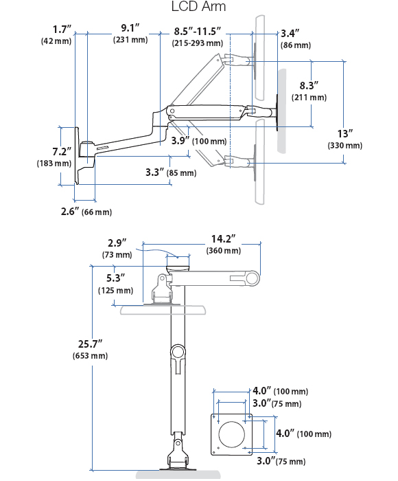 Technical Drawing for Ergotron LX LCD Arm