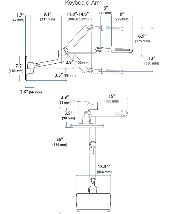 Technical Drawing for LX Keyboard Arm