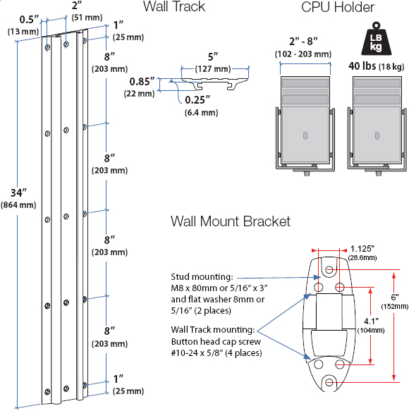 Technical Drawing for Wall Track, Wall Mount Bracket and CPU Holder