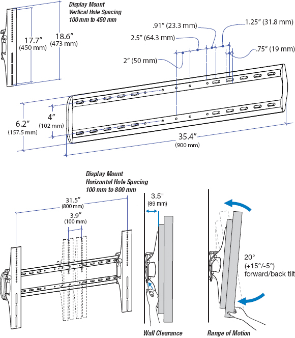Technical Drawing for Ergotron 60-601-003 XL Tilt Wall Mount