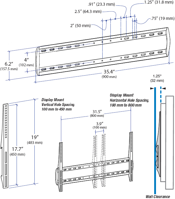 Technical Drawing for Ergotron 60-602-003 Low Profile XL Wall Mount