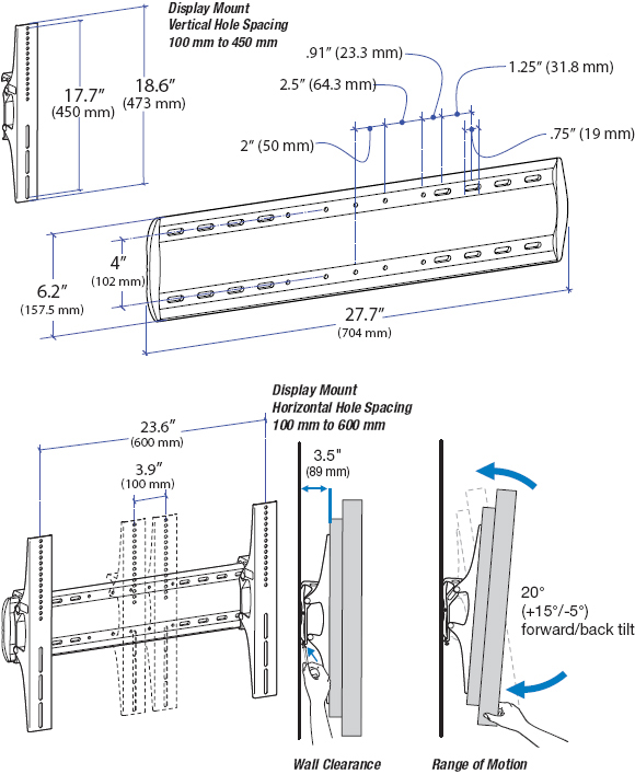 Technical Drawing for Ergotron 60-603-003 Tilting Wall Mount