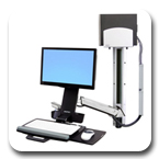 Ergotron 45-271-026 StyleView Sit-Stand Combo System with Medium CPU Holder (Polished Aluminum)