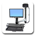 Ergotron 45-272-026 StyleView Sit-Stand Combo System with Worksurface and Small CPU Holder (Polished Aluminum)