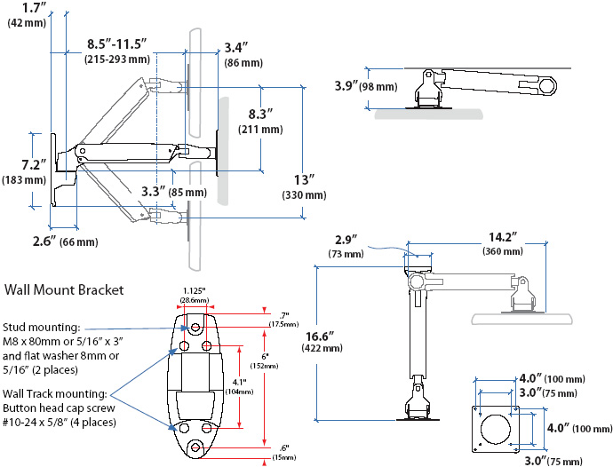 Technical drawing for Ergotron Interactive TV Arm, LD