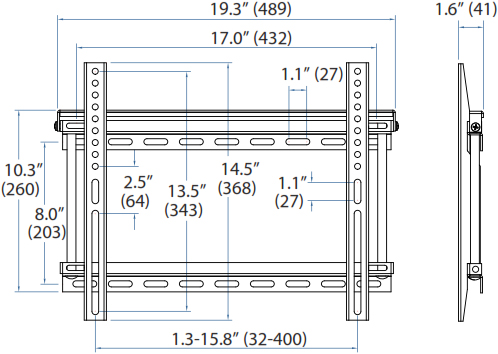 Technical drawing for Ergotron 60-615 Fixed VHD Wall Mount