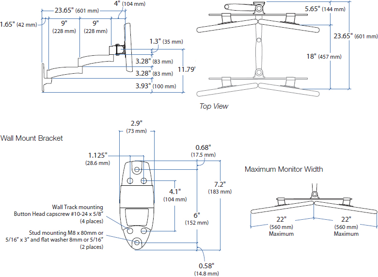 Technical Drawing for Ergotron 200 Series Dual Monitor Arm