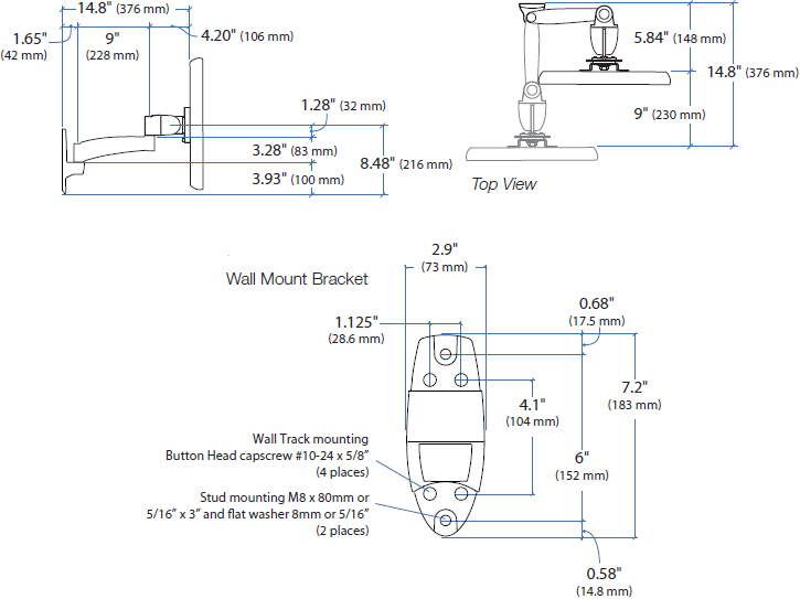 Technical drawing for Ergotron 45-233-200 - 200 Series Wall Mount Arm, 1 Extension