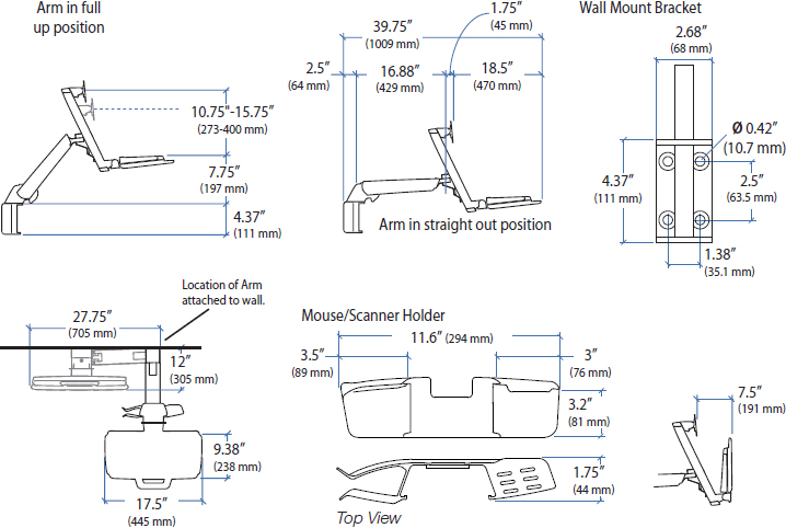 Technical drawing for Ergotron 45-266-026 StyleView Sit-Stand Combo Arm