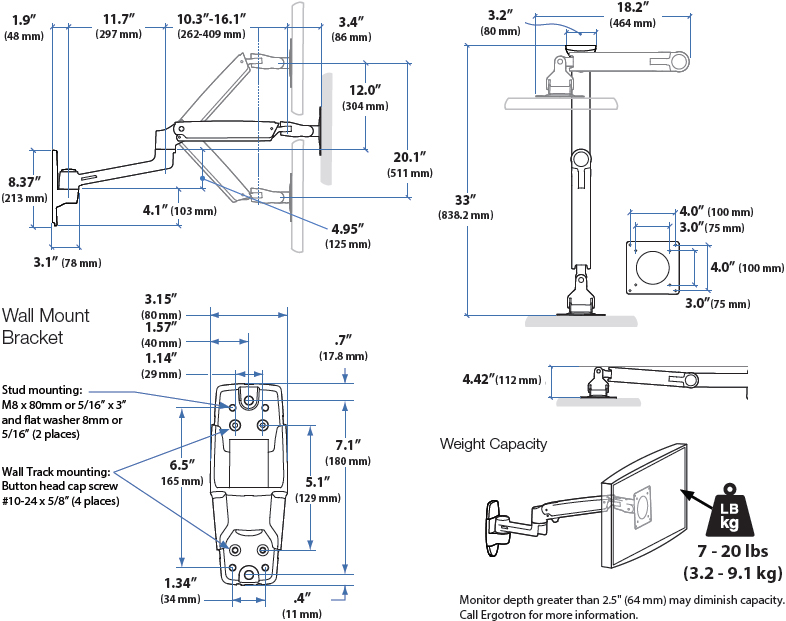 Technical Drawing of Ergotron 45-353-026 LX Sit-Stand Wall Mount LCD Arm