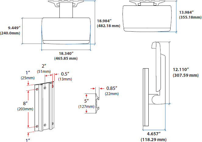 Technical drawing for Ergotron 45-403-062 Neo-Flex Keyboard Wall Mount