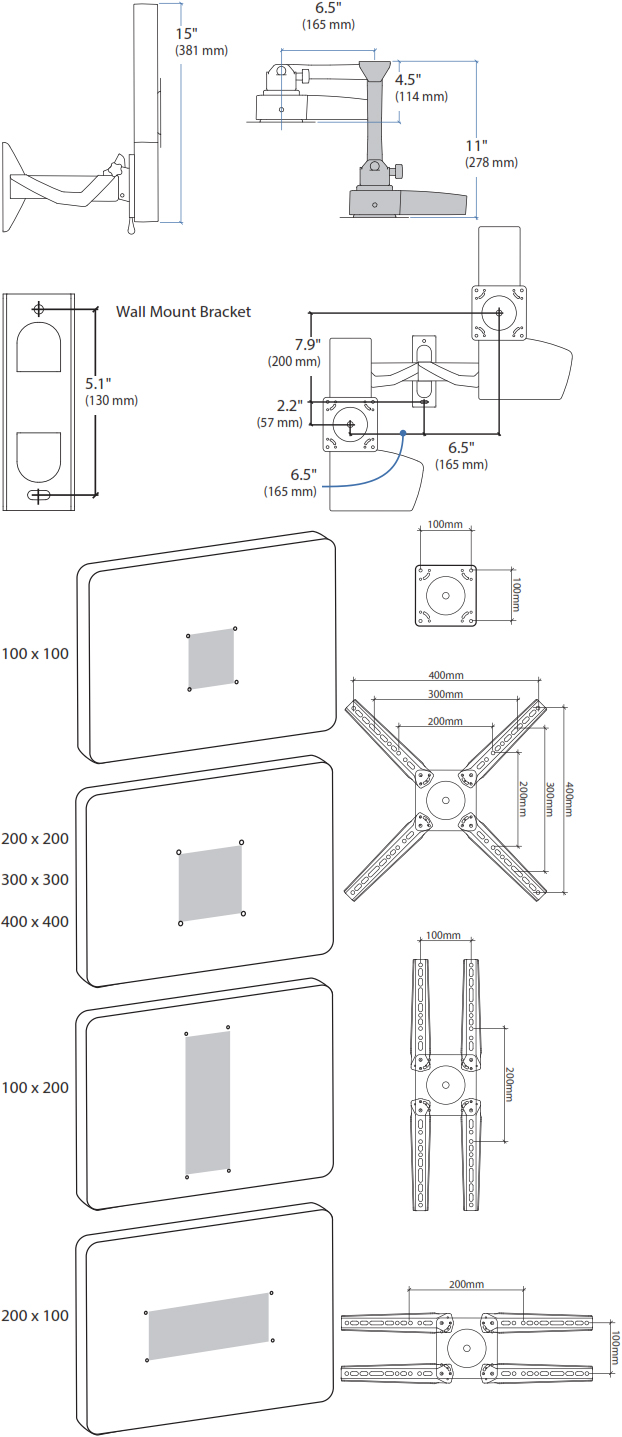 Technical drawing for Ergotron 61-113-085 Glide Wall Mount, LD-X