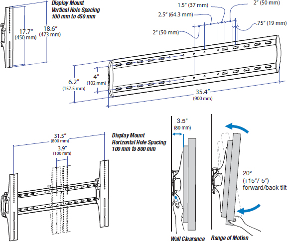 Technical drawing for Ergotron 61-142-003 TM Tilting TV Wall Mount, XL