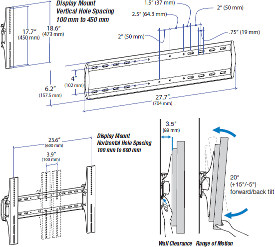 Technical drawing for Ergotron 61-143-003 TM Tilting TV Wall Mount