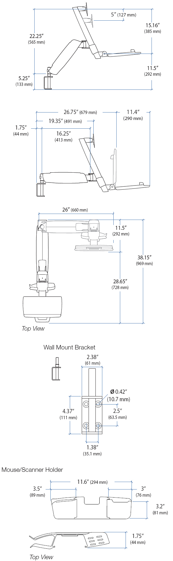 Technical Drawing for Ergotron 45-252-216 HD StyleView Combo System