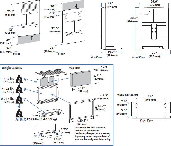 Technical drawing for Ergotron 60-610-062 StyleView Sit-Stand Enclosure - White