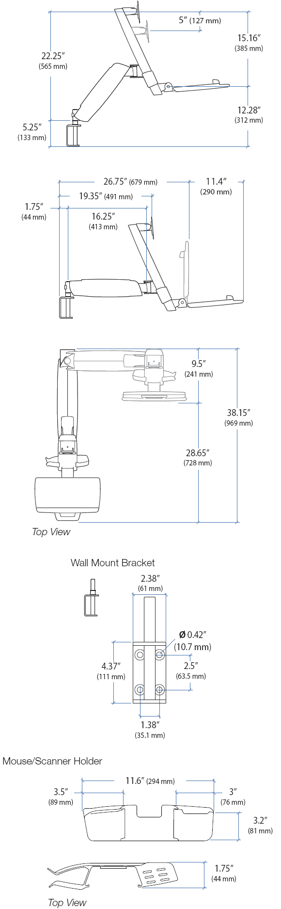 Technical Drawing for Ergotron 45-216-200 StyleView HD Combo System